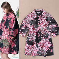 women's japanese style peter pan collar batwing  print personalized batwing shirt silk trench wholesale free shipping