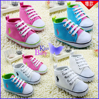 Baby High Top Sneakers casual shoes soft bottom non-slip polo baby toddler shoes 11-13cm white / blue / pink