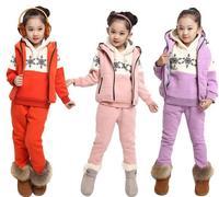 Children Snowflakes Hoody Casual Patchwork Girl Sweatshirt Winter Warm Children's Clothing in Girl's Hoodies Thick 3 Pieces Set