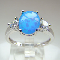 man Fashion Jewelry Blue Opal Ring 2014 wholesale gold plated jewelry DR301403061R Free Shipping