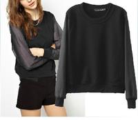 Women Black Short Sweatshirt With Sheer Organza Sleeve 2014 Autumn New Free Shipping