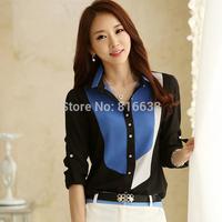 New S-XXL Womens Office Tops 2014 Korean Fashion Style Contrast Color Collar Long Sleeve Chiffon Blouses Shirts blusas femininas