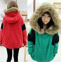 2014 Spring and winter long loose coat women Japanese Korean students lamb's jacket thick padded cotton color block parka