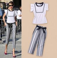 Stripe bow cotton coat + turnip pants two suits