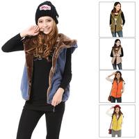 2014 Winter Women's Thick Sleeveless Hooded Coat Vest Ladies Pockets Single Breasted Elastic Hem Plus Size Waistcoat For Girls