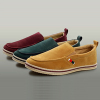 European Style New arrival Flat Platform Plus size Suede Leather Green/yellow Man fashion shoes flats men excellent quality/D030