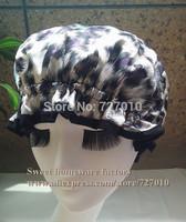Wholesale spots leopard waterproof shower cap homewale shower parts barber salon supplies colorfull EVA hat hair satin bonnets