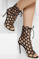 summer bootie gladiator boots black  high heel designer pumps women lace up  suede cut outs boot