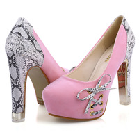 snakeskin flock platform bow women pumps 2014 new round toe high heels gold heel sexy party shoes 370 - 8