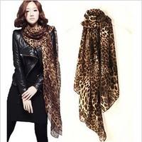 SC180222 160*70cm  Lady fashion european style autumn winter leopard print pashmina style chiffon scarf
