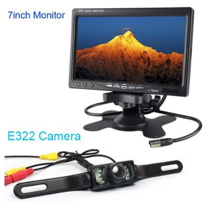 """HD 7"""" LCD car media Monitor DVD/VCD/GPS/TV dispaly Screen + E322 waterproof car infrared rear view Camera Night Vision Parking(China (Mainland))"""