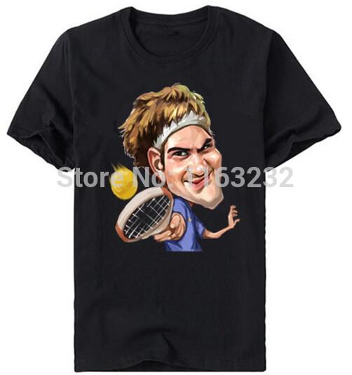 Federer T-shirt Men Tennis Star Unique Design Cartoon Printed Tee Shirts Short Sleeve Cotton Tee shirt Accept Custom(China (Mainland))