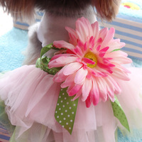 Small Pet Dogs Cat Flower Bow Tutu Vest Dress Skirt Puppy Clothes Apparel S-XXL For Freeshipping