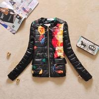 2014 Women's PU leather jacket Lady PU coats women's outwear fashion black Jackets flower print winter coats for woman