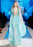 2014New Style V-neck Spaghetti Strap Beaded with a long cappa Long Mermaid  Arabic Evening Dress