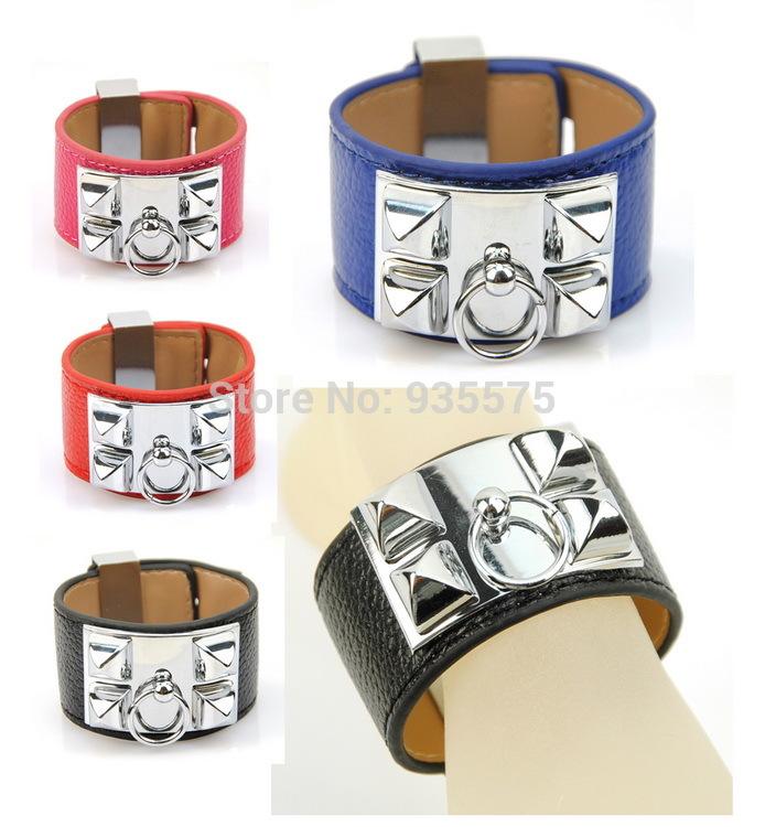Women Genuine Real Leather Punk Rock Bangle Pyramid Studs Bracelet Collier De Chien H Cuff Designer Wristband Jewelry Silver(China (Mainland))