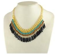 2014 New Bohemian Tassels Drop Gold Chain Choker Necklace Neon Vintage Bib Statement Necklaces&Pendants Jewellery For Woman