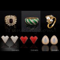 Fast Free shipping 10+2=12  Pcs Mix HOT Designs 18K Gold Filled Luxurious rhinestone Romance Earrings Ring Set Jewelry  ZH0053