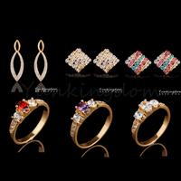 Fast Free shipping 10+2=12  Pcs Mix HOT Designs 18K Gold Filled Luxurious rhinestone Fashion Earrings Ring Set Jewelry  ZH0054