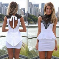 New 2014 Brand Summer Women Cotton Dress Sleeveless Hollow Halter Lace Patchwork Dresses Slim Sexy  Mini Shirt Vestidos