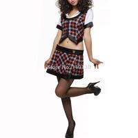 Fashion Elegant Lady of Sexy Red Plaid School Girl Uniforms Modern Dance Midriff Clothes