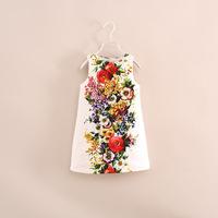 2014 autumn hot brand design children girl sleeveless flower bohemian party princess dress