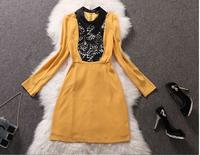 Women autumn winter 2014 silk full sleeve desigual work wear casual dress plus size women clothing party evening elegant dress