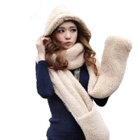#969 Women Scar 1 Piece 3 use include Scarf Hat and Glove Velvet Hat Winter gloves Free Shipping