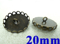 20mm Vintage Antique Bronze tone Round Lace Bezel w/ Double Loops Pendant Connector for Glass Vial Bottle Globe Making Wholesale