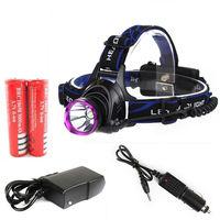 2000 Lumens CREE XM-L XML T6 LED Headlamp Headlight Flashlight Head Lamp Light+2x18650 Battery+ AC&Car Charger