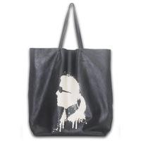 2014 designer brand fashion printing genuine leather handbags for women big black shoulder bags female tote bolsas free shipping