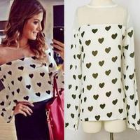 Women Sheer Chiffon Blouse Gauze Mesh Shirt Heart Print Long Sleeve Tops Hot