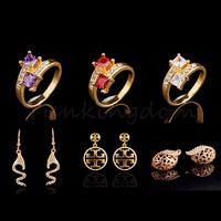 Fast Free shipping 10+2=12  Pcs Mix HOT Designs 18K Gold Filled zirconia Classic Fashion Earrings Ring Set women Jewelry ZH0058