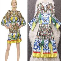 2014 Silk print summer autumn winter desigual women work wear casual dress european bandage dress  vestido bordados