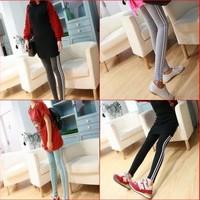 Free Shipping Hot Sale  High Quality 2014Fashion Leggings for Women  Nine Pants Autumn Leggings Side Striped Leggings Tights1309