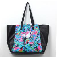 2014 designer brand fashion abstract printing women's genuine leather handbags big tote bag female shoulder bag bolsas femininas