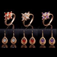 Fast Free shipping 10+2=12  Pcs Mix HOT Designs 18K Gold Filled Drop stones hot  Fashion Earrings Ring Set women Jewelry ZH0059