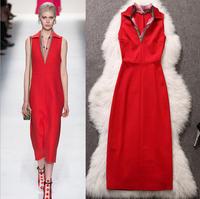 Hot sale top Runway cotton 2014 new women dress Summer Sleeveless v neck red party plus size vestido de festa tomara que caia