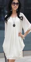 1pcs/lot free shipping NEW WOMEN'S FASHION CHIFFON DRESS O-NECK LOOSE DRESSES BIG SIZE: M-4XL black and white beach dress