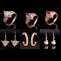Fast Free shipping 10+2=12  Pcs Mix  Designs 18K Gold Filled Elegant simplicity  Fashion Earrings Ring Set women Jewelry ZH0060