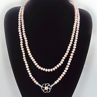 GORGEOUS 47in Womens White Pink Purple Freshwater Cultured Pure Pearl Necklace Chain Long