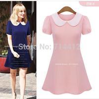 2104 new summer women's European and American doll collar short sleeve dress Slim Slim thin waist dress size S-2XL