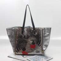 2014 designer brand fashion big silver zipper women's genuine leather handbags tote bag ladies shoulder bag bolsas femininas