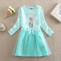 FROZEN HOODI New summer dress 2014 baby girl dress fashion frozen dress elsa Children's dresses blue 100% cotton clothes