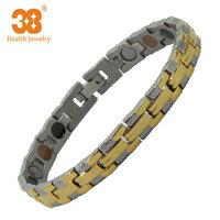 2014 Men's Gold Titanium Bracelet Friendship Bracelet Infrared Germanium Tourmaline Bracelet
