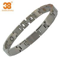 2014 Eropean Mens Brand Titanium Bracelet Magnet Negative Ion Infrared Bio Magnetic Cross Bracelet
