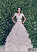 New 2014 Modest V Neck Applique Bow Sash vestidos de noivas A-Line Ruffle Formal Long Bridal Organza Wedding Dress With Sleeves