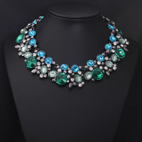 2014 New Arrival Luxury Blue Crystal Stone Alloy Choker Collar Brand Statement Necklace Fashion Jewelry for Women, Free Shipping