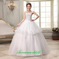 2014 sweet vintage bandage tube top wedding dress princess bride wedding dress vestido de novia vestido de noiva 090