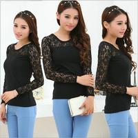 2014 NEW Women's t-shirt Sexy Blouse Fall Casual Tops Black Lace T Shirt black plus size XXL Free shipping 226